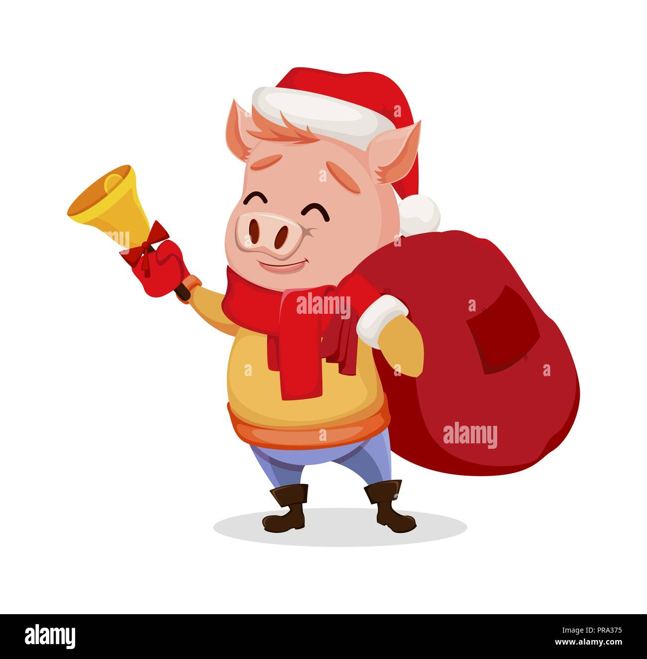 merry christmas cute pig wearing santa claus hat and scarf cheerful funny cartoon character holding hand bell vector illustration