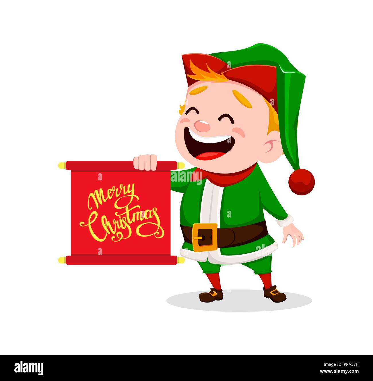 Merry christmas funny santa claus helper cheerful cute elf merry christmas funny santa claus helper cheerful cute elf cartoon character holding scroll with greetings usable for greeting card banner poste m4hsunfo