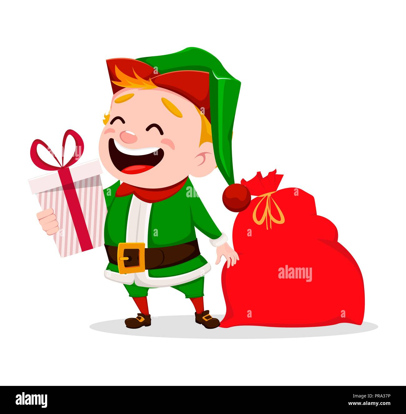 Merry Christmas Funny Santa Claus Helper Cheerful Cute Elf Cartoon Character Holding Gift Box And Bag Usable For Greeting Card Banner Poster Fl