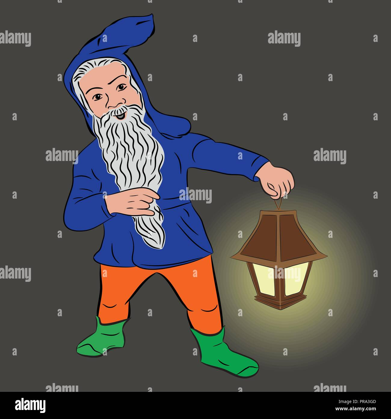 Little people. Funny dwarf with a lantern, vector - Stock Vector