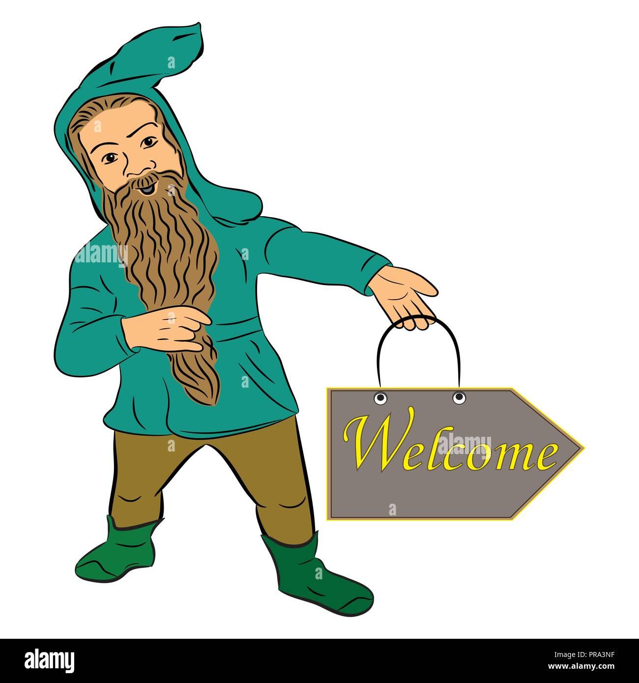 Dwarfs. Funny dwarf. banner welcome - Stock Image