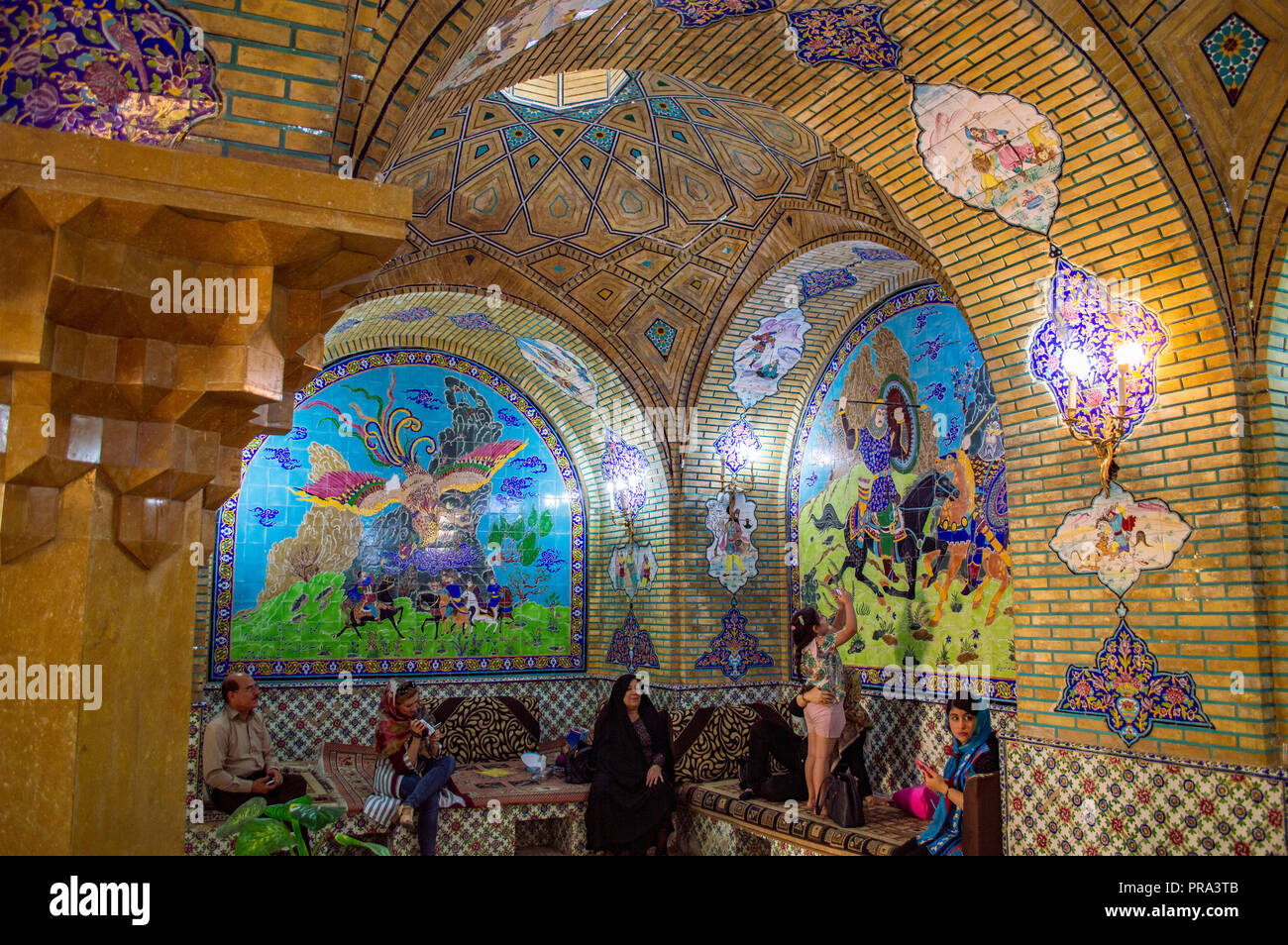 Inside the tea room at Afif Abad Garden in Shiraz, Iran - Stock Image