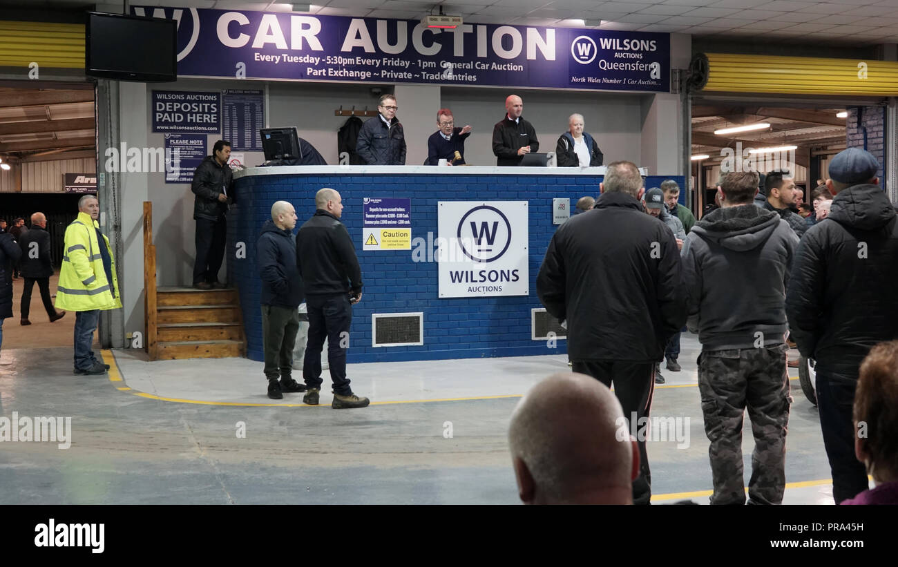 Wilson's Auctions, Station Road, Queensferry, Flintshire. Image taken in March 2018. - Stock Image