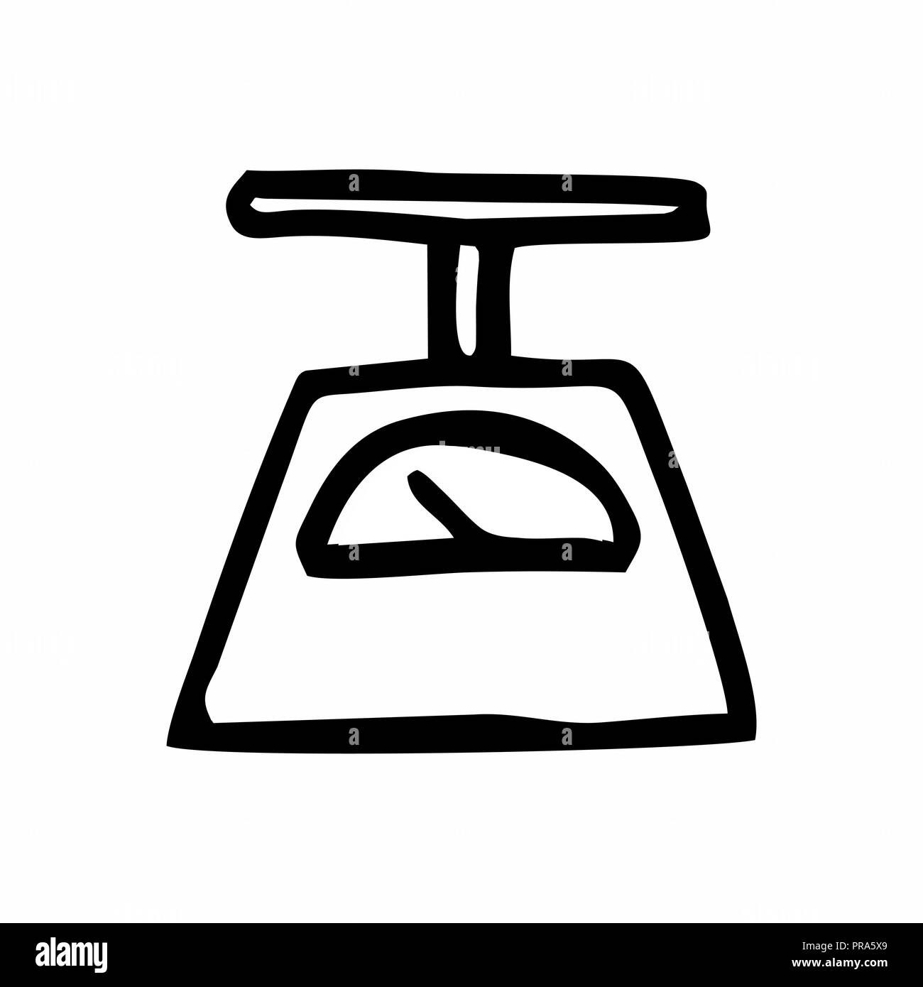 Freehand illustration of a scales. Black and colorful illustrations on white background. - Stock Image