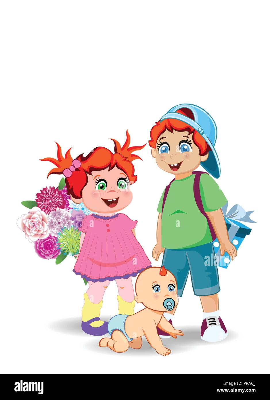 Festive Clip Art Of Boy Girl And Baby For Happy Birthday Back To