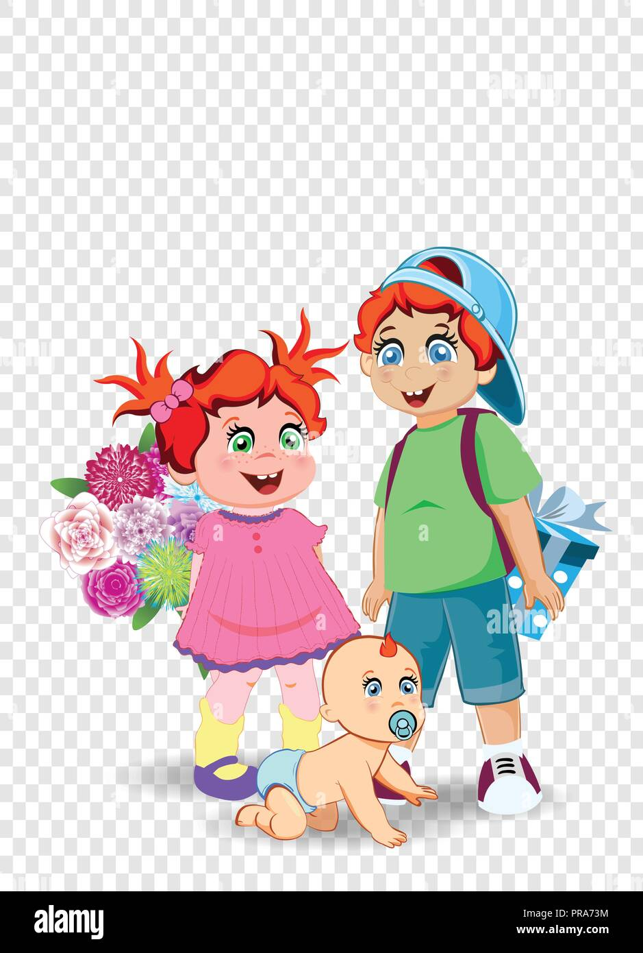 Cartoon Illustration Of Cute Little Kids With Flowers And Presents