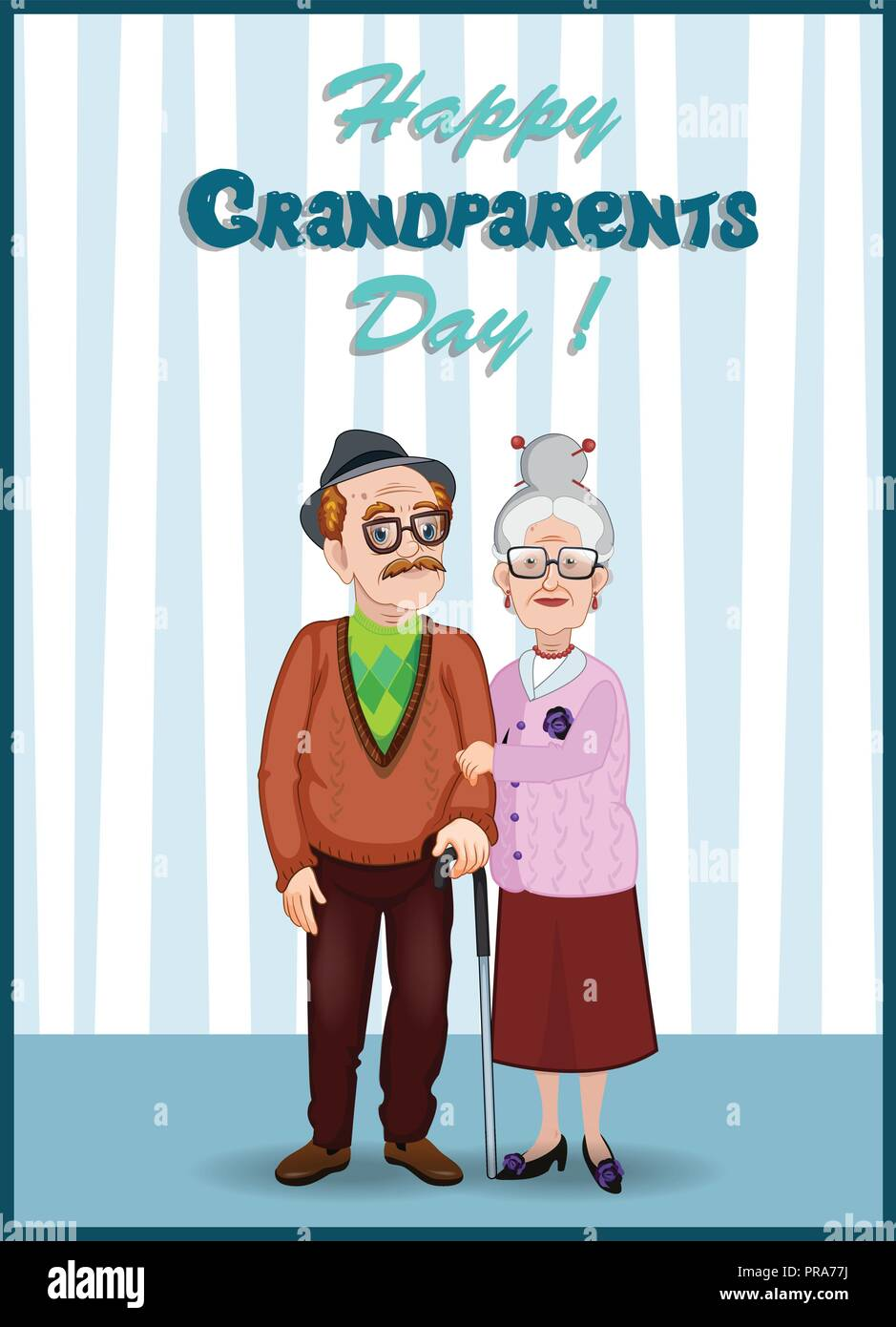 Happy Grandparents Day Greeting Card Cartoon Vector Illustration Of