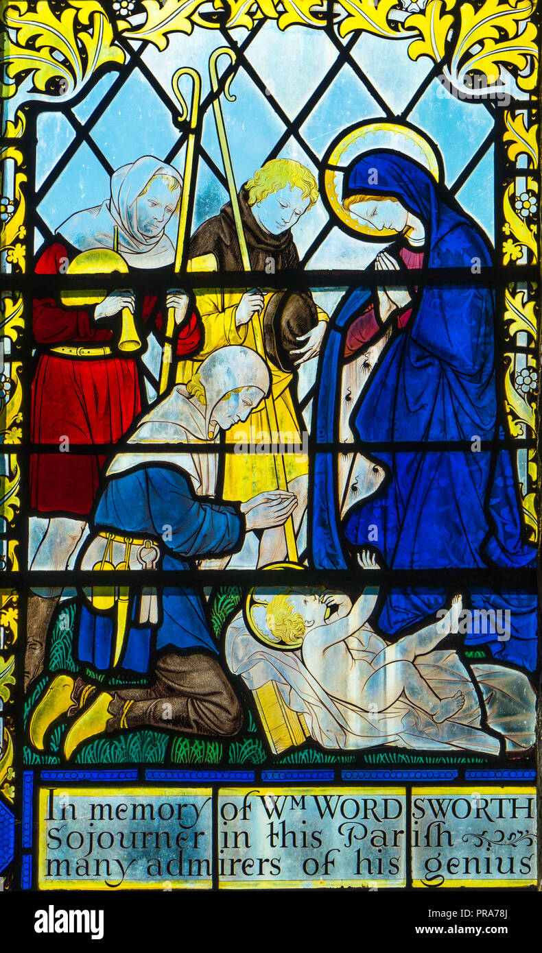 Stained glass depicting the Adoration of the Shepherds after the birth of Jesus. St George Church Brinsop Herefordshire UK. September 2018. - Stock Image