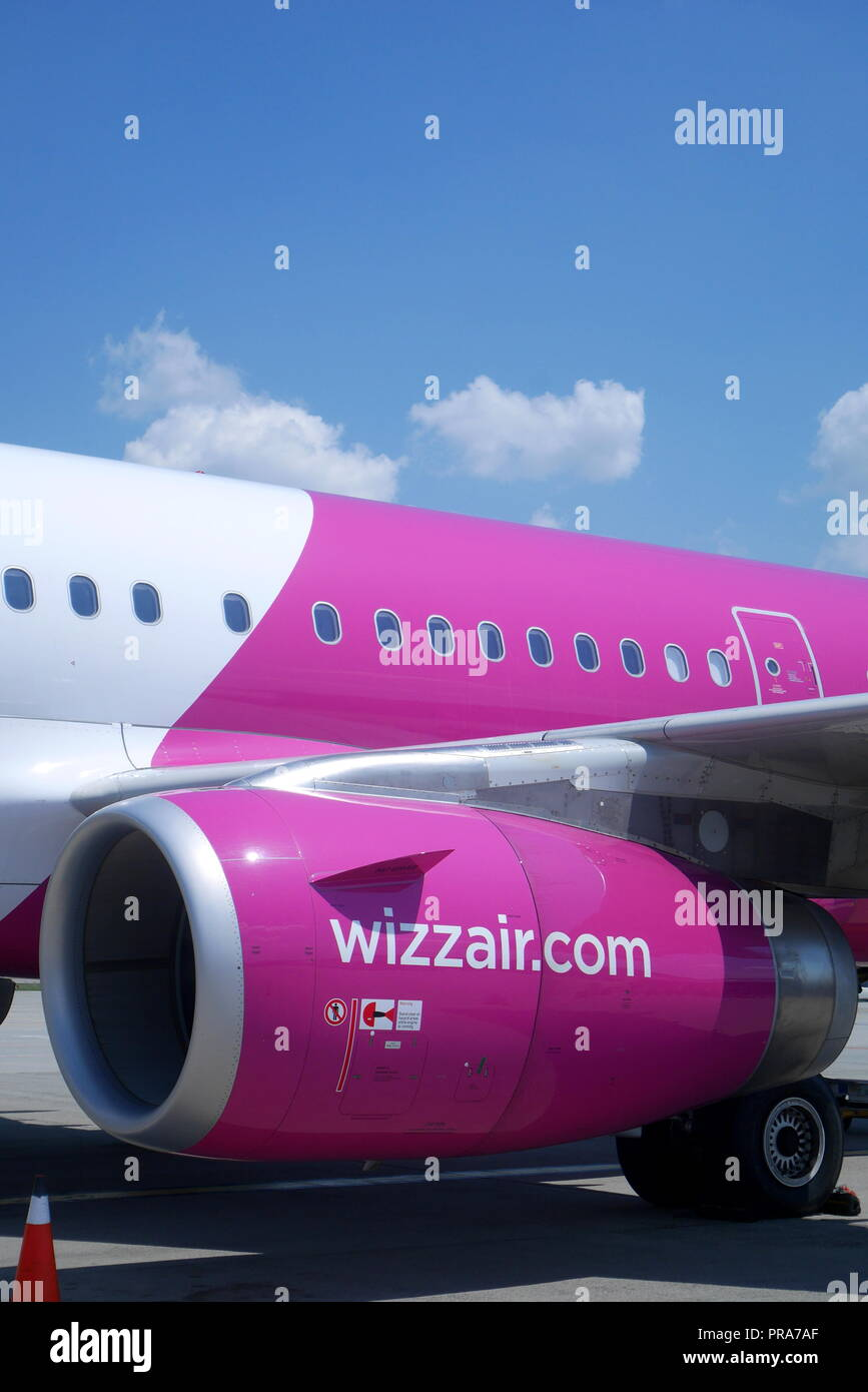 Wizz Air A320 200 on the tarmac at Budapest Ferihegy Airport, Hungary - Stock Image