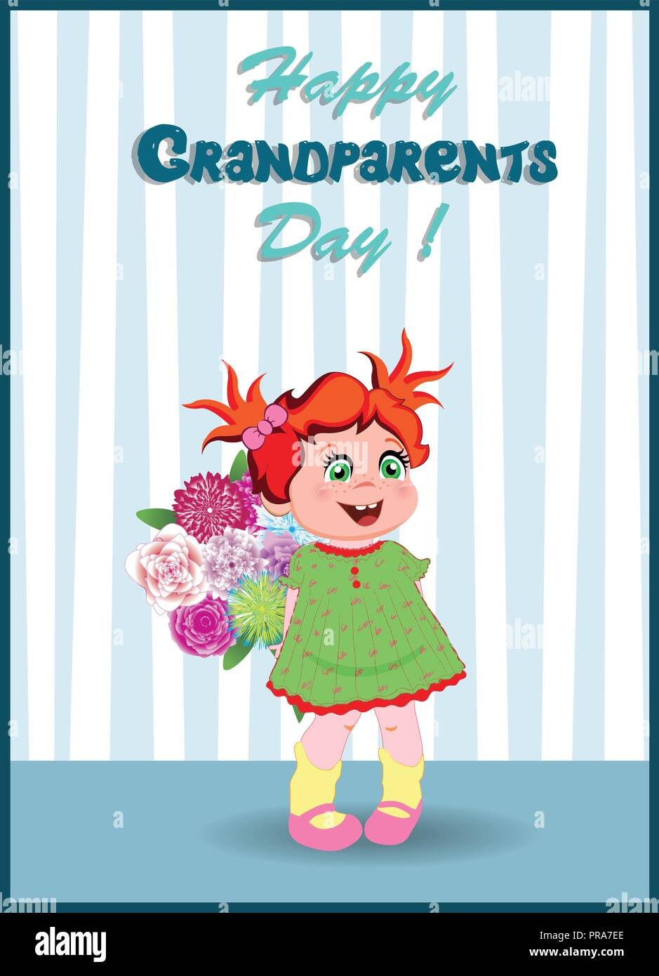 Grandparents day greeting card with cute cartoon little grandchild grandparents day greeting card with cute cartoon little grandchild girl with beautiful bouquet of flowers on striped wallpaper background vector illu izmirmasajfo