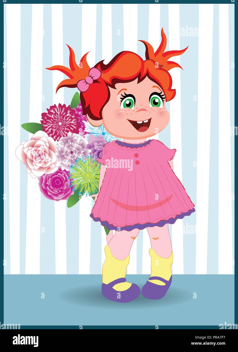 Vector Illustration Of Cute Cartoon Little Girl Character With