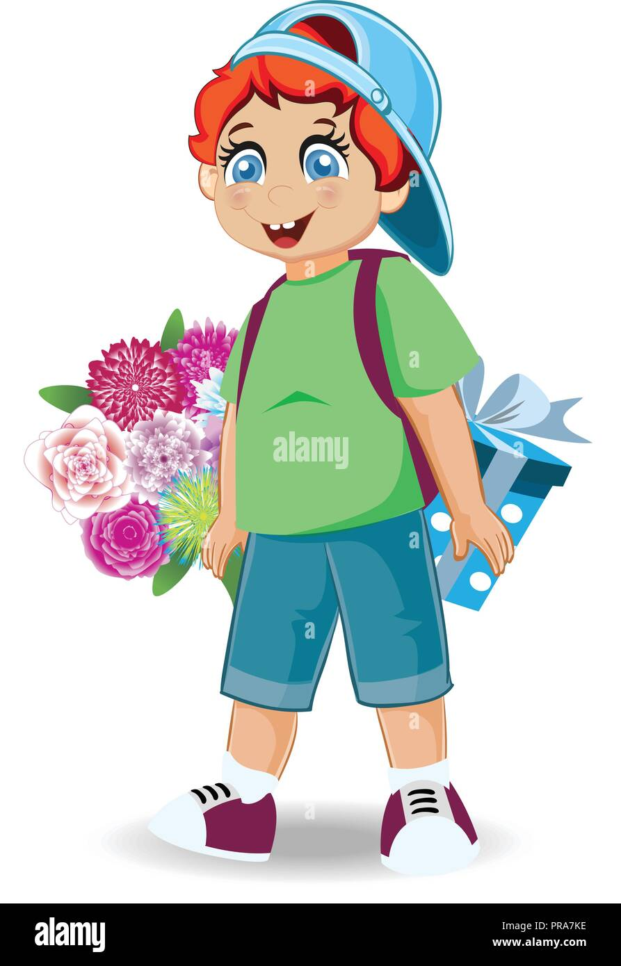 Vector Illustration Of Cute Little Boy With Flowers And Present