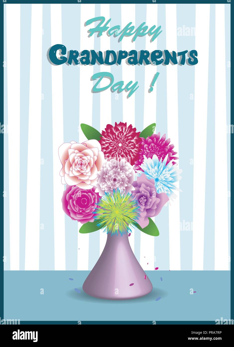 Happy Grandparents Day Greeting Card Vector Illustration Of Vase