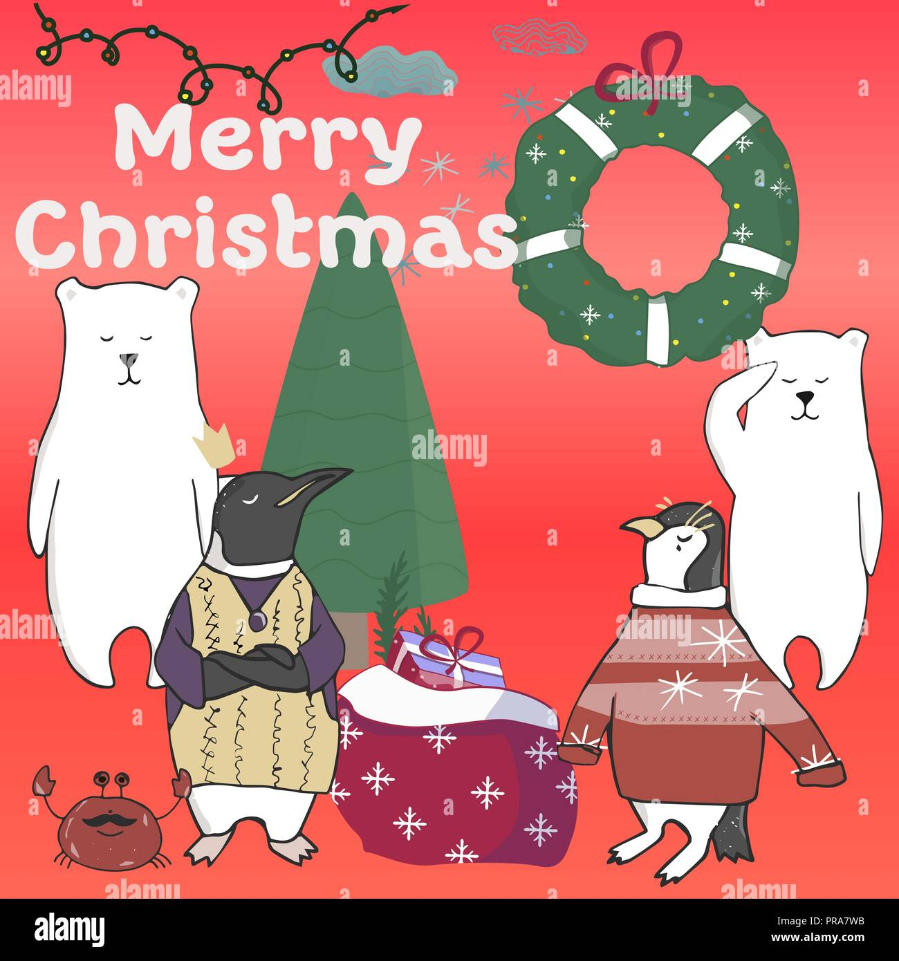funny and cute penguins christmas tree merry christmas and happy new year card christmas card in cartoon style vector illustration - Funny Merry Christmas