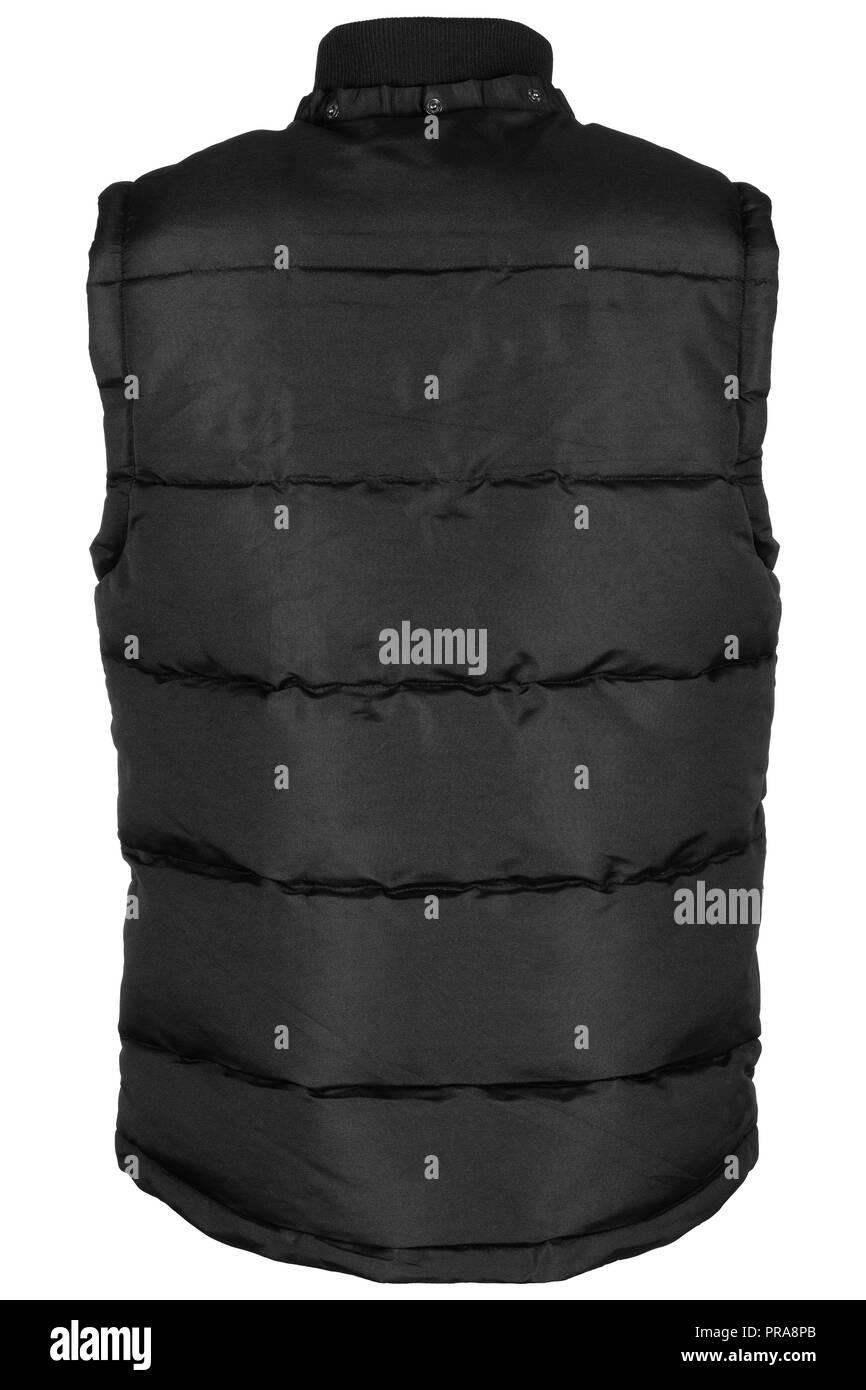 Back of black, warm waistcoat with hood isolated on white background - Stock Image