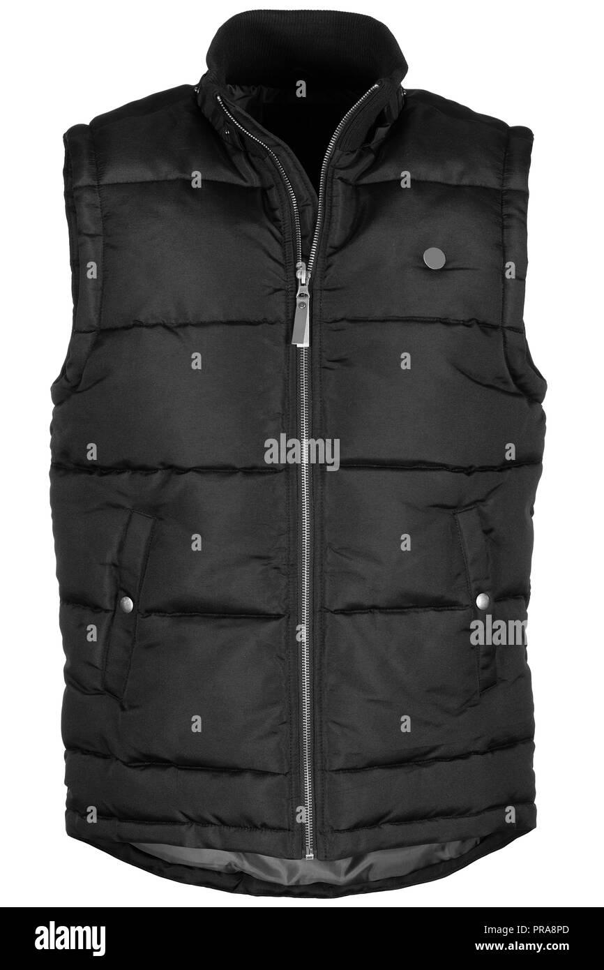 Warm black waistcoat isolated on white background - Stock Image