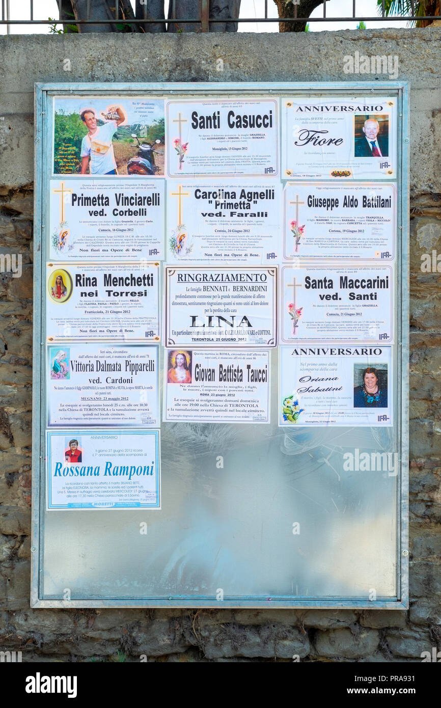 Notice board in Tuscany Italy - Stock Image