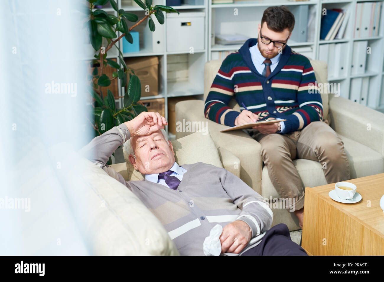 Elderly Man in Therapy - Stock Image
