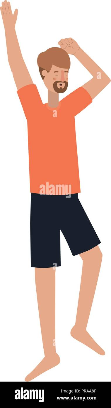 young man with sleeping pose avatar character - Stock Vector