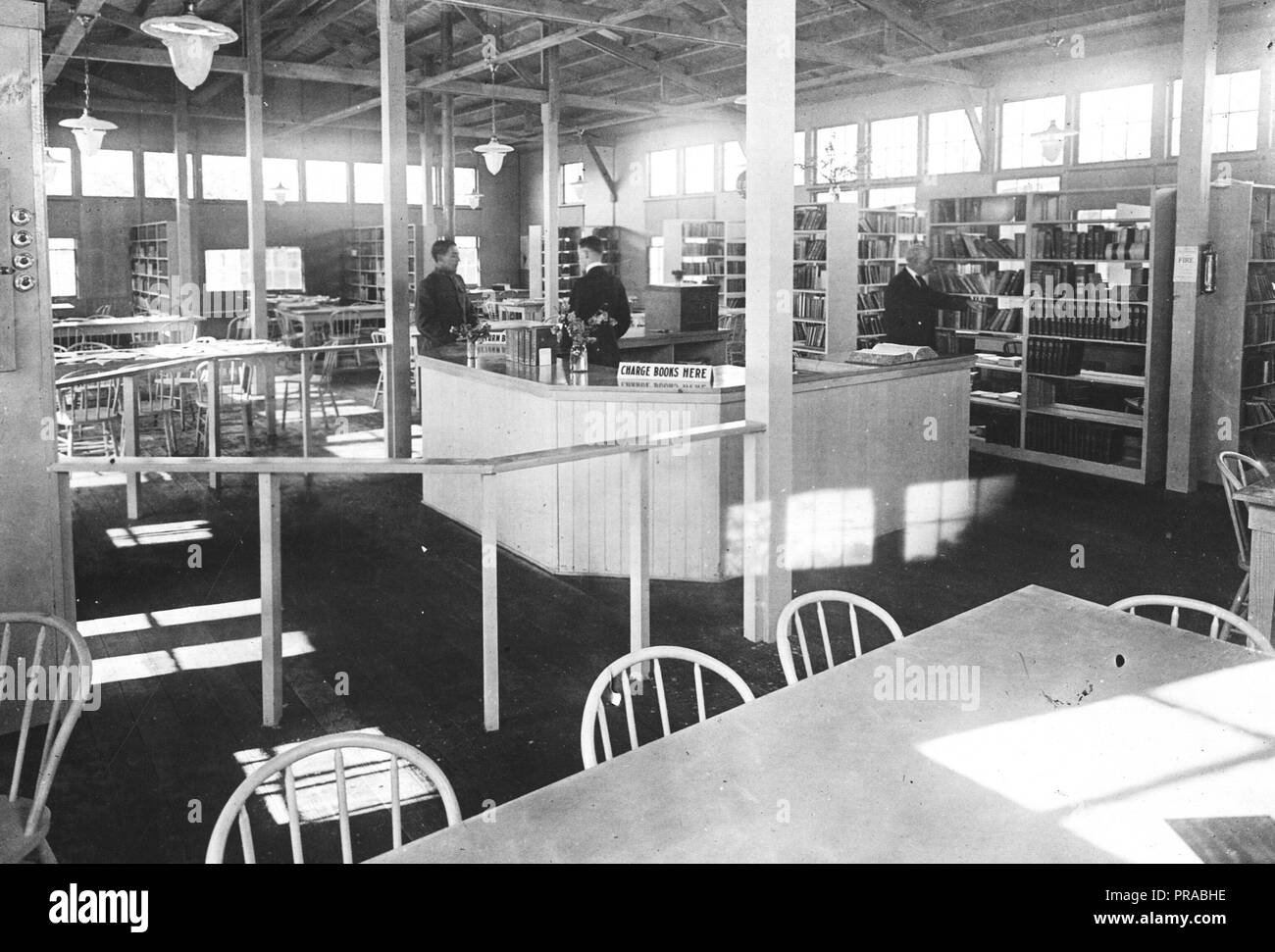 1918 or 1919 - Libraries - Alabama through Iowa - Interior of Library, Camp Fremont, Palo Alto, Cal - Stock Image