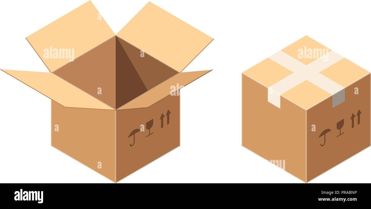 Isometric Vector Packaging Carton or Cardboard Boxes Icon Set with Postal Signs - This Side Up and Fragile Isolated on White. Sealed and Uncovered Boxes. Postal Parcel Delivery Concept. - Stock Vector