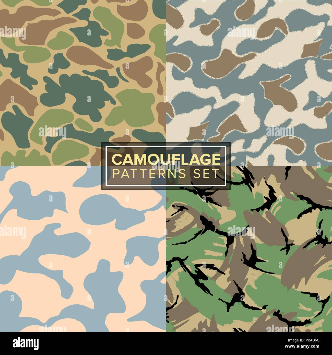 camouflage pattern set  four different textures Stock Vector