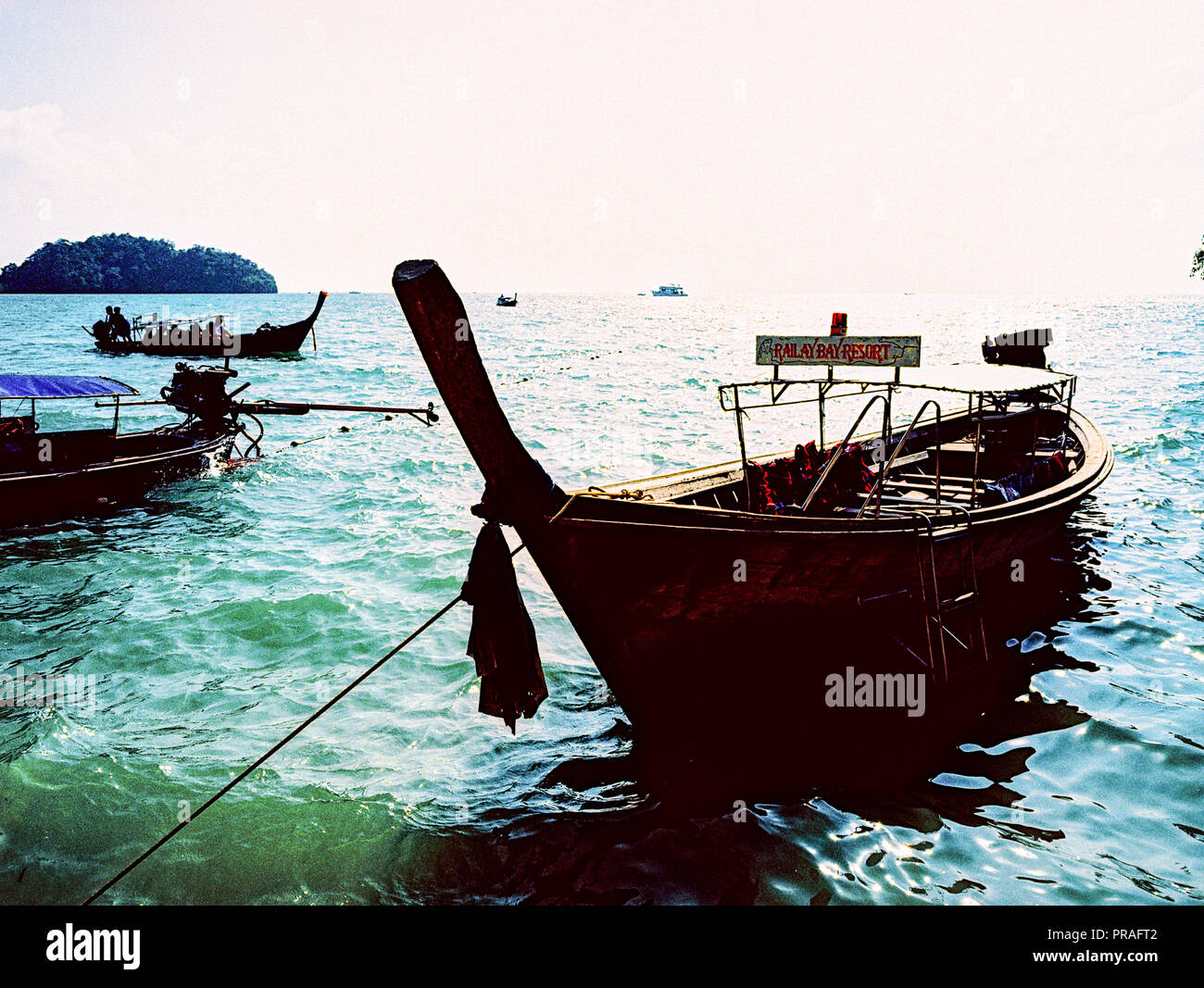 Traditional Thai Longtail boat Phi Phi island, Thailand - Stock Image
