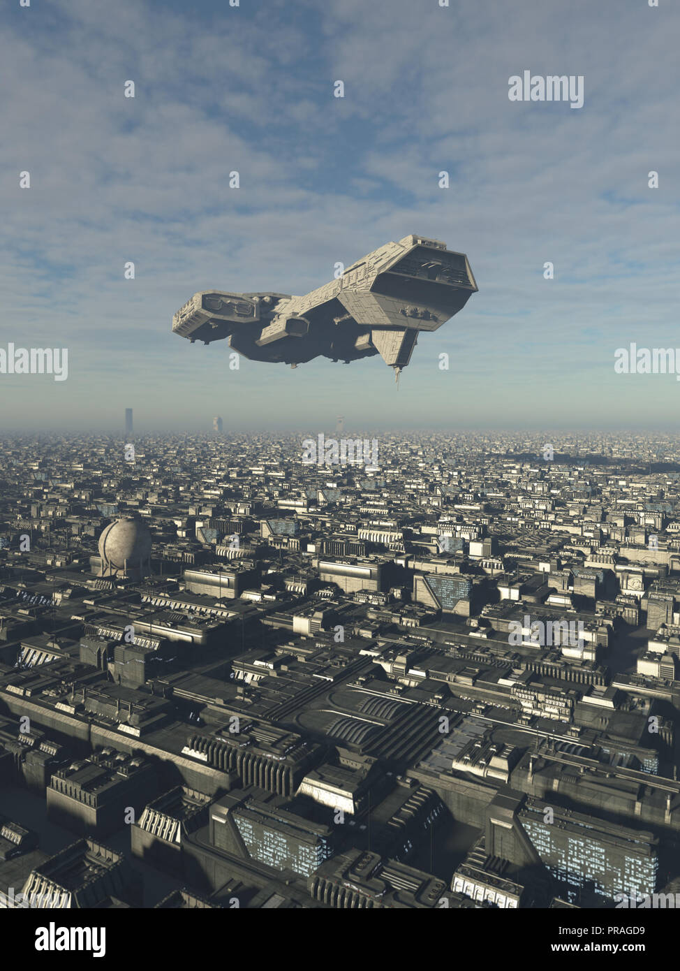 Spaceship Overflying a Future City - Stock Image