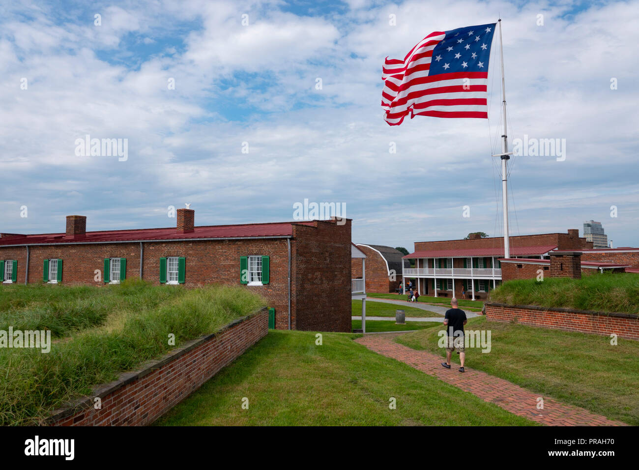USA Maryland MD Baltimore Fort McHenry National Monument 15 star flags flies replica of the flag that flew during the battle the Francis Scott Key saw - Stock Image