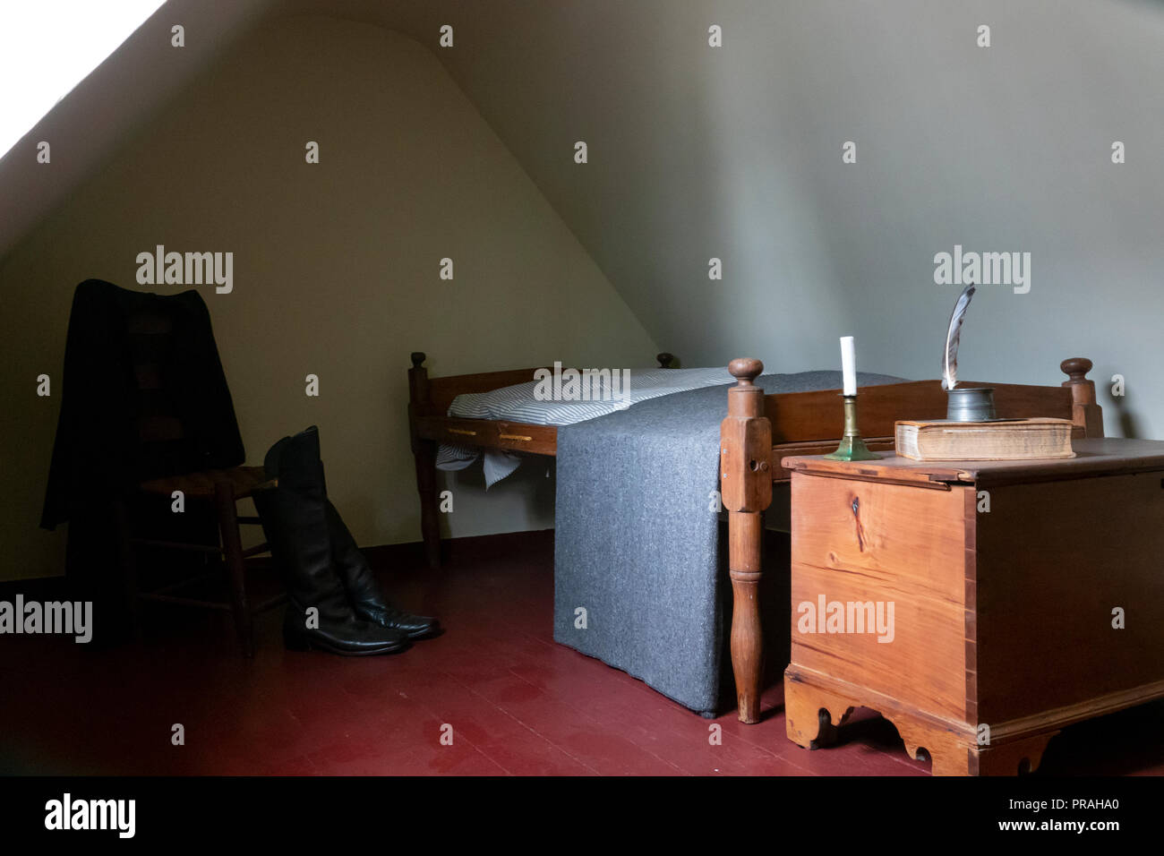 USA Maryland Baltimore The Edgar Allen Poe House and Museum The attic bedroom of Poe - Stock Image