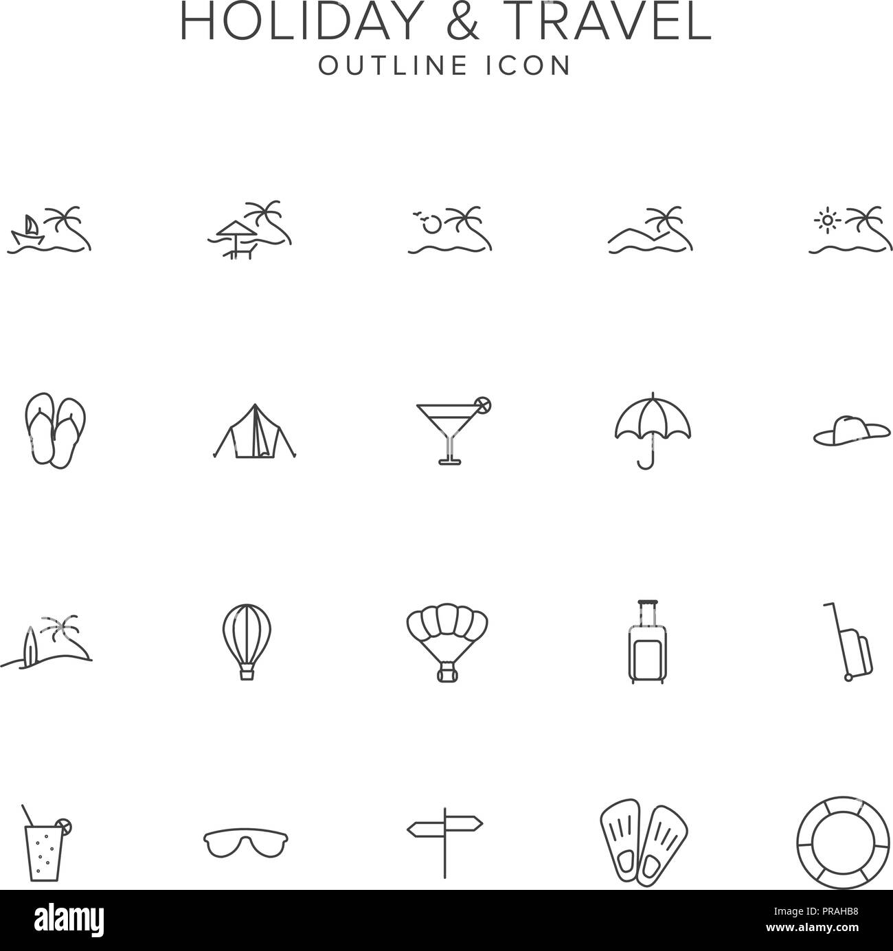 Holiday and Travel Line Icon Set Stock Vector