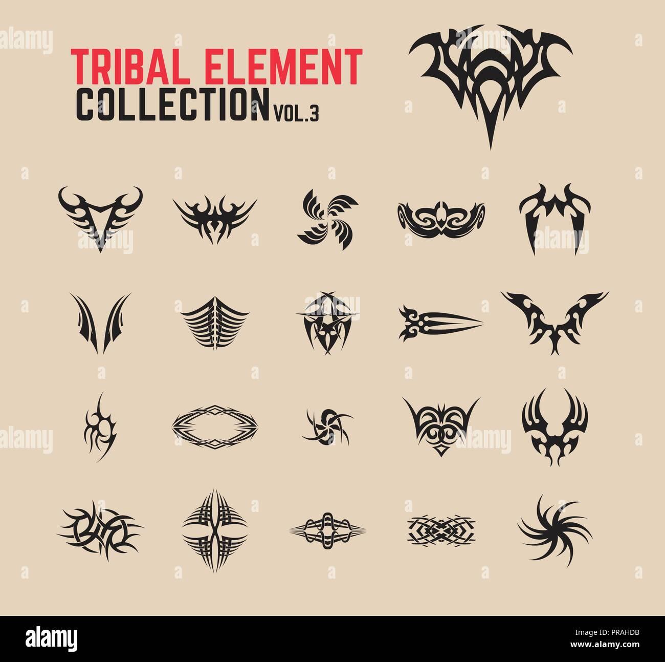 Tribal Tattoo Design Elements Set Stock Vector Art Illustration