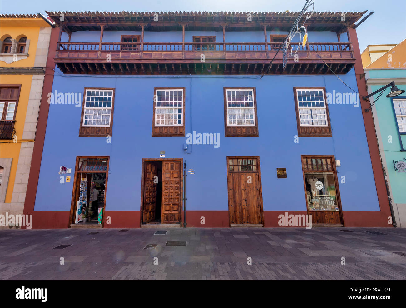 TENERIFE, SPAIN - AUGUST 20: (EDITORS NOTE: A polarizing filter was used for this image.) The Casa Olivera S XVIII house is seen in San Cristóbal de La Laguna on August 20, 2018 in Tenerife, Spain. San Cristóbal de La Laguna was the former capital of the island, and it's part of the UNESCO World Heritage. - Stock Image