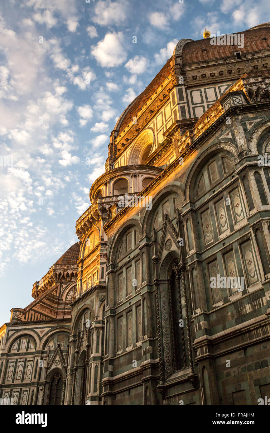 Facade and Dome of Cathedral of Saint Mary of Flower in Florence in Sunrise, Italy, Europe - Stock Image