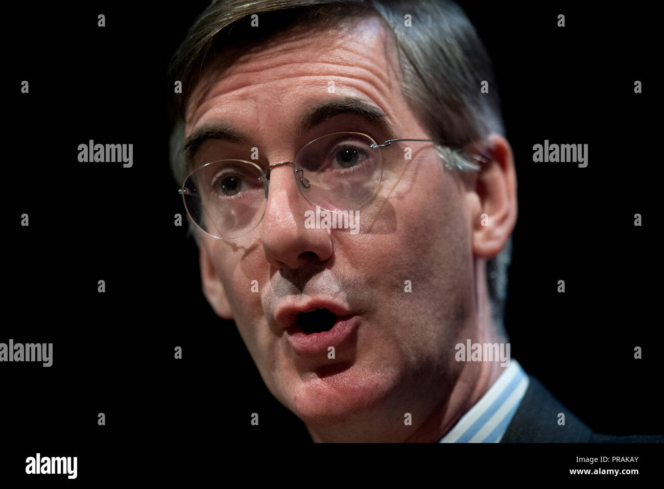 Birmingham, UK. 30th September 2018. Jacob Rees-Mogg, MP for North East Somerset, speaks at the Brexit Central fringe event at the Conservative Party Conference in Birmingham. © Russell Hart/Alamy Live News. - Stock Image