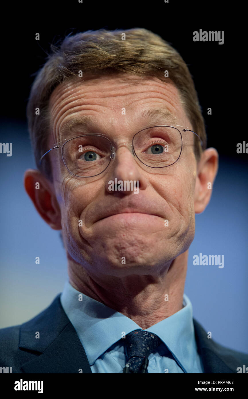 Birmingham, UK. 30th September 2018. Andy Street, Mayor of the West Midlands, speaks at the Conservative Party Conference in Birmingham. © Russell Hart/Alamy Live News. - Stock Image