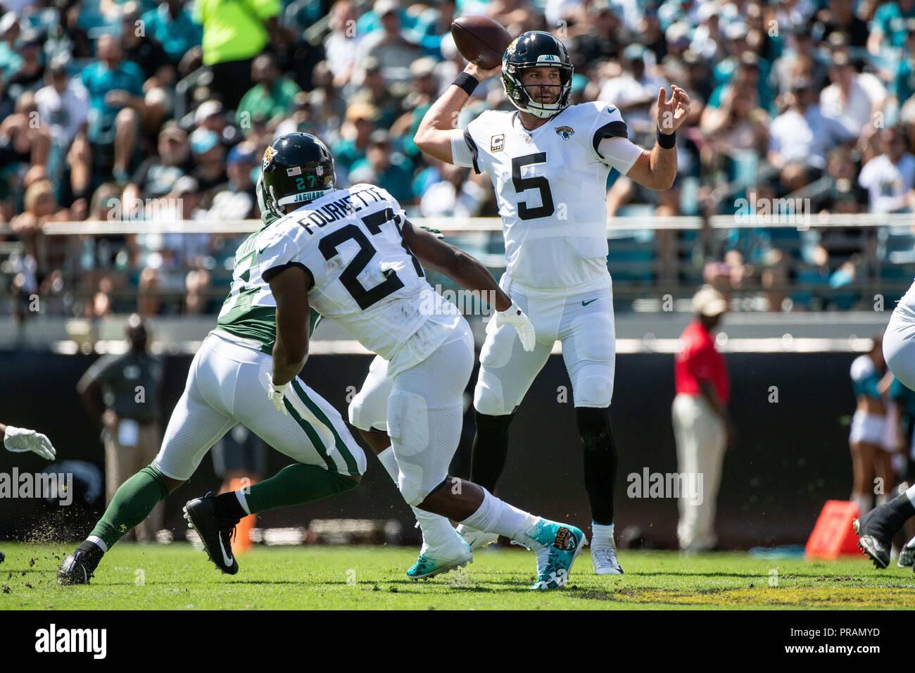 Jacksonville, FL, USA. 30th Sep, 2018. Jacksonville Jaguars Quarterback  Blake Bortles (5) During 1st Half NFL Football Game Between The New York  Jets And ...