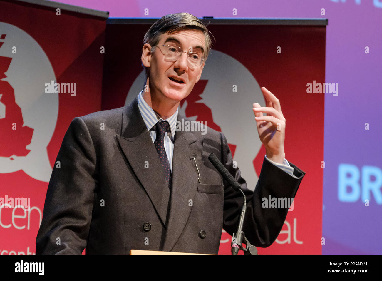 Birmingham, UK. 30 Sept, 2018. Jacob Rees-Mogg at Conservative Party Conference on Sunday 30 September 2018 held at ICC Birmgingham, Birmingham. Pictured: Jacob Rees-Mogg appears at a Fringe Event hosted by BREXIT Central . Picture by Julie Edwards. Credit: Julie Edwards/Alamy Live News - Stock Image
