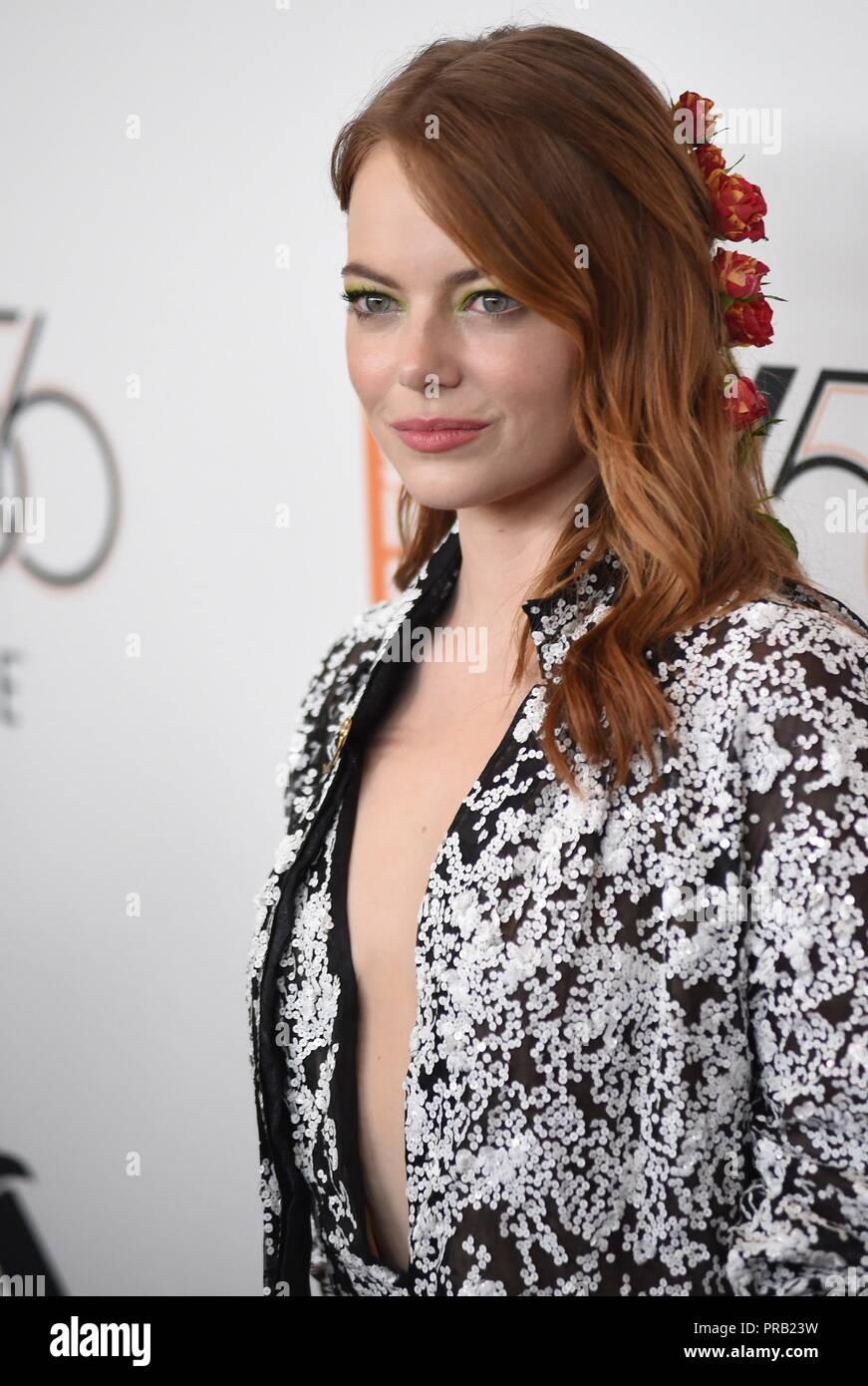 Emma Stone at arrivals for THE FAVOURITE Premiere at the New York Film Festival Opening Night, Alice Tully Hall at Lincoln Center, New York, NY September 28, 2018. Photo By: Kristin Callahan/Everett Collection - Stock Image