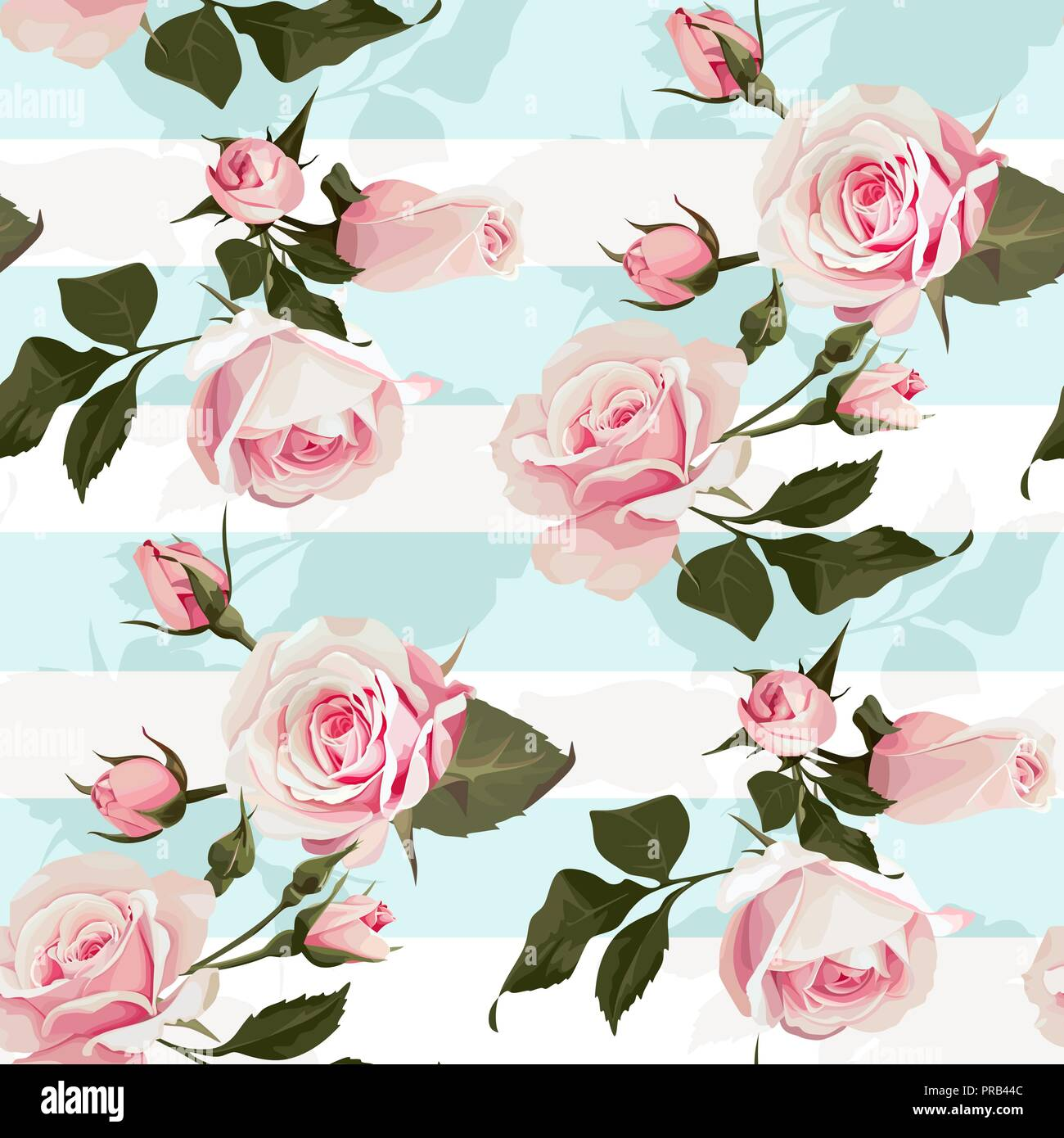 Pink Roses On A Mint Green Stripes Vector Seamless Pattern