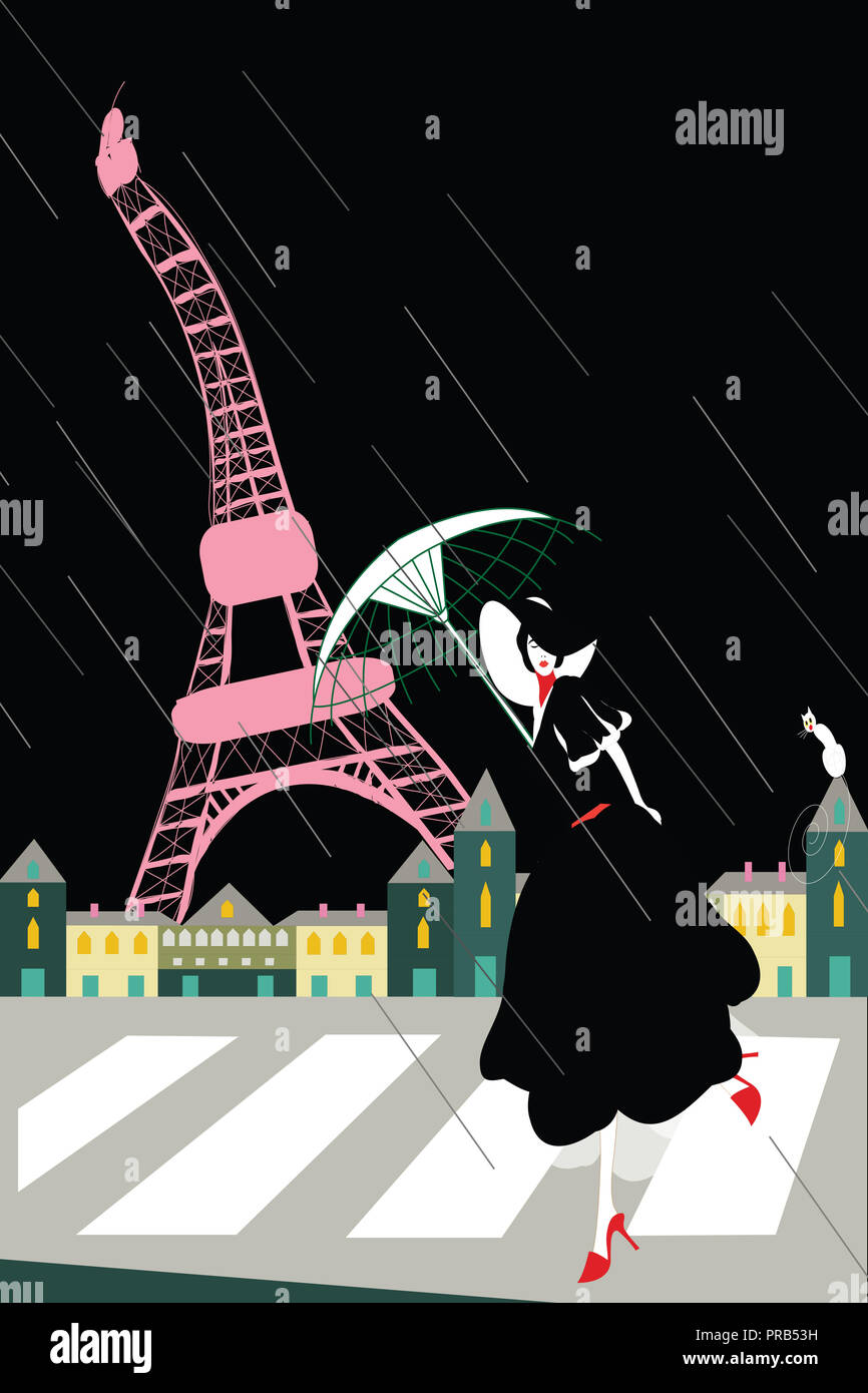 stylish woman at the eiffel tower on a rainy night - Stock Image