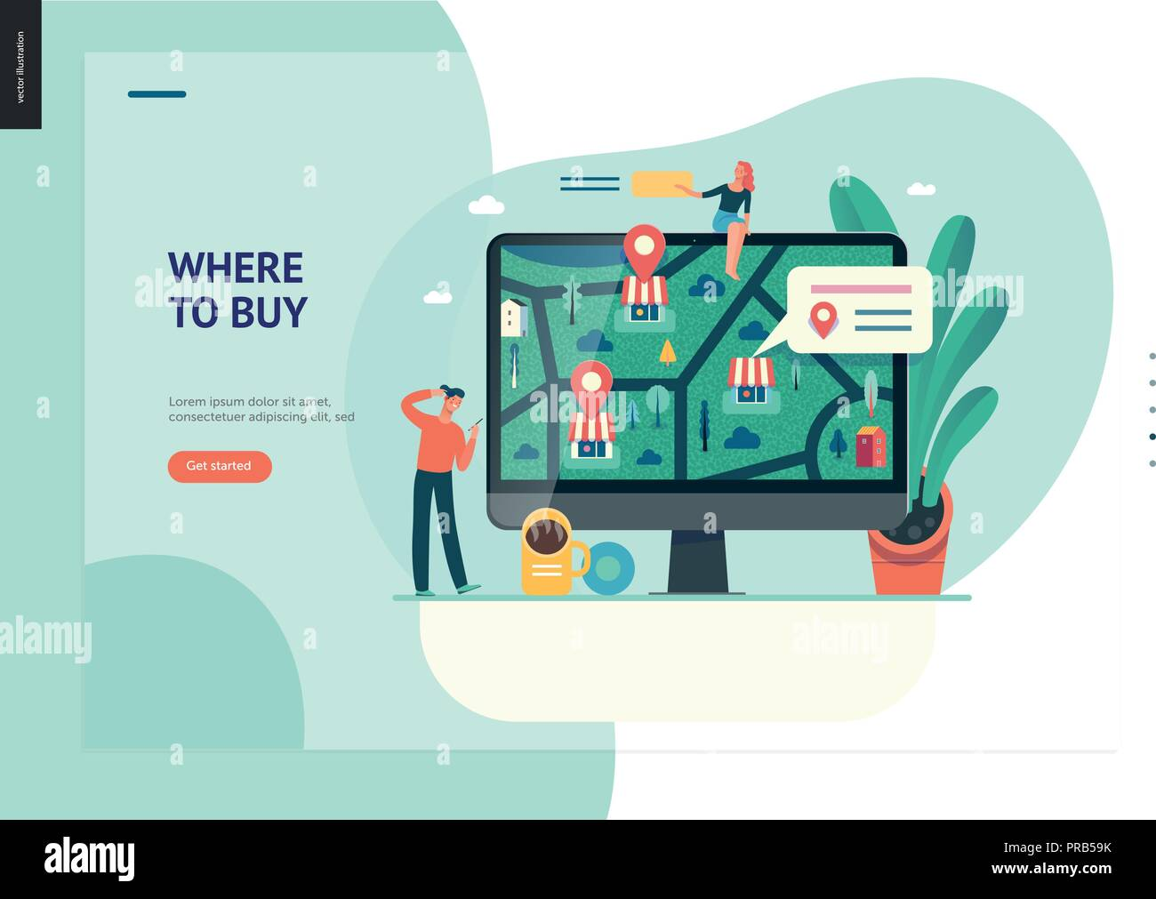 Business series, color 1 - where to buy - modern flat vector ...