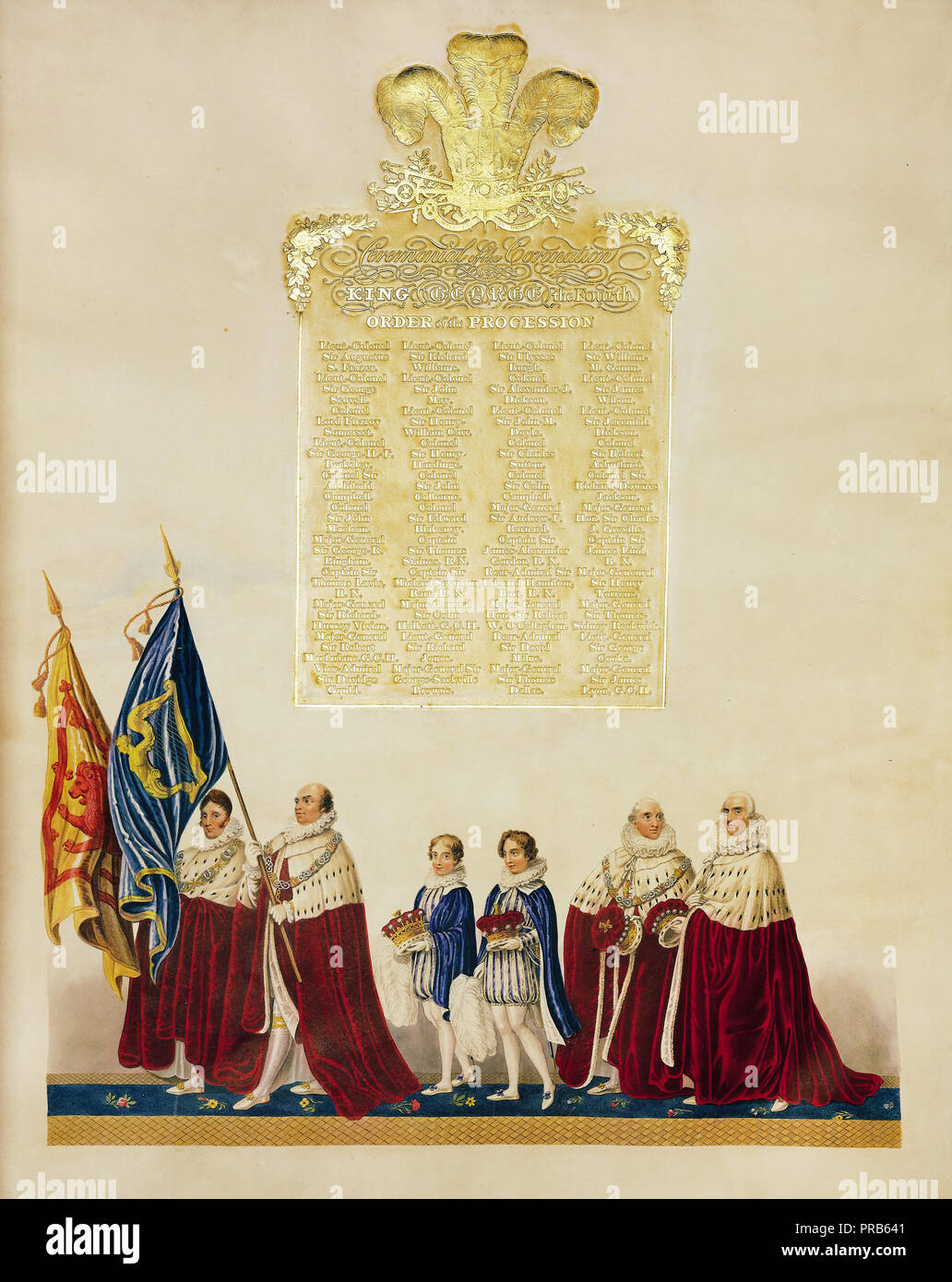 John Whittaker, Ceremonial of the Coronation of King George IV 1823 Printed on japan vellum, Royal Collection of the United Kingdom. - Stock Image