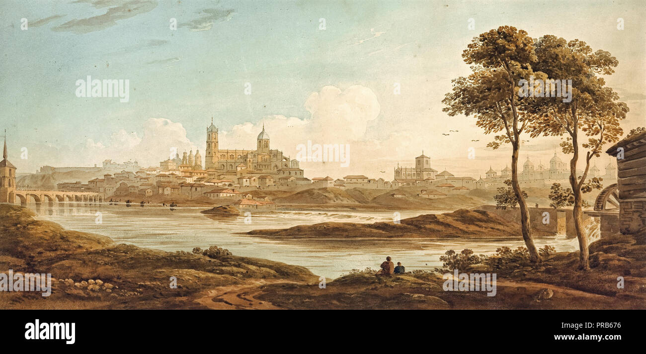 John Varley, City on a River, Circa 1820, Watercolour on paper, Art Gallery of South Australia. - Stock Image
