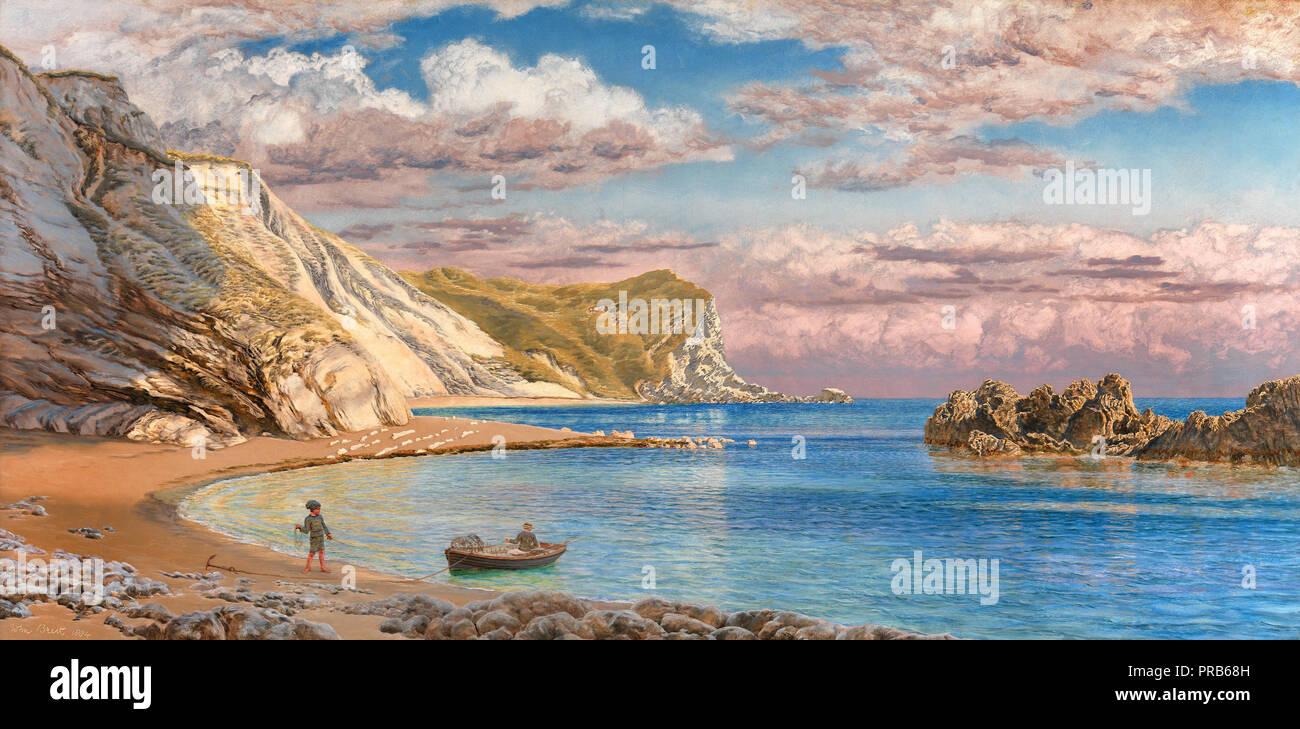 John Brett, Man of War Rocks, Coast of Dorset 1884 Oil on canvas, Yale Center for British Art, New Haven, USA. - Stock Image