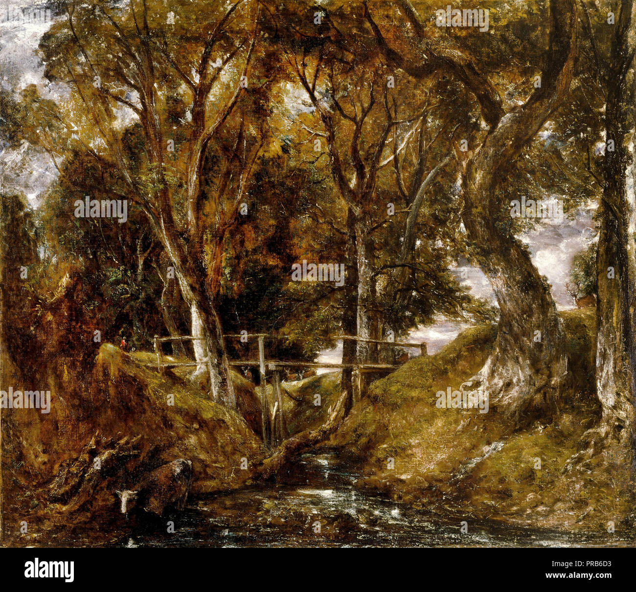 John Constable, The Dell at Helmingham Park 1830 Oil on canvas, Nelson-Atkins Museum of Art, Kansas City, Missouri, USA. - Stock Image
