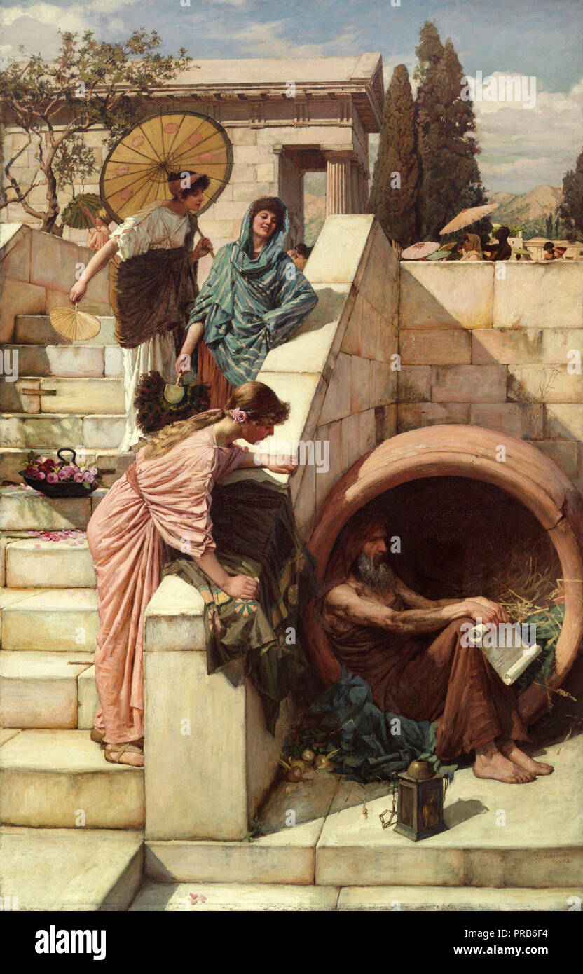 John William Waterhouse, Diogenes 1882 Oil on canvas, Art Gallery of New South Wales, Australia. - Stock Image