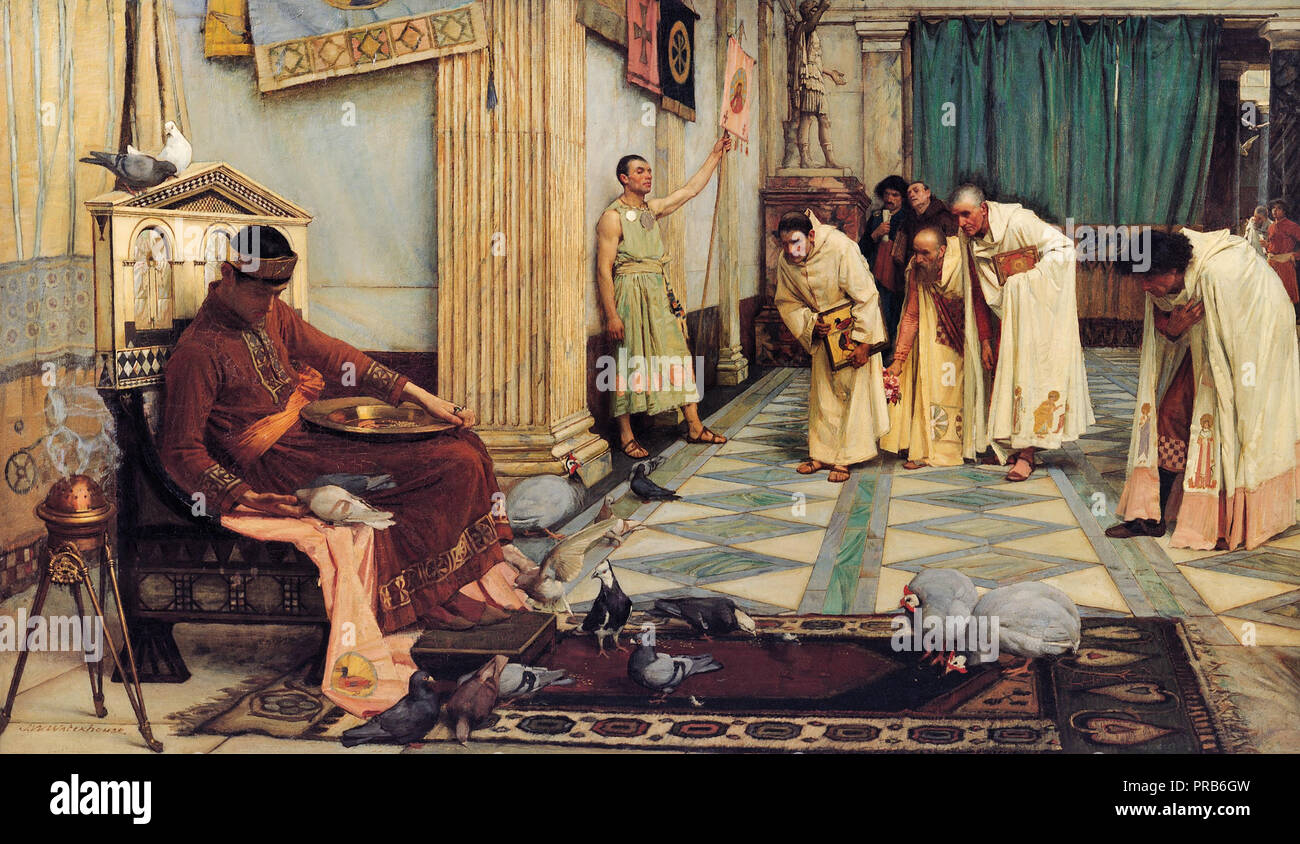 John William Waterhouse, The Favorites of the Emperor Honorius, Circa 1883, Oil on canvas, Art Gallery of South Australia. - Stock Image
