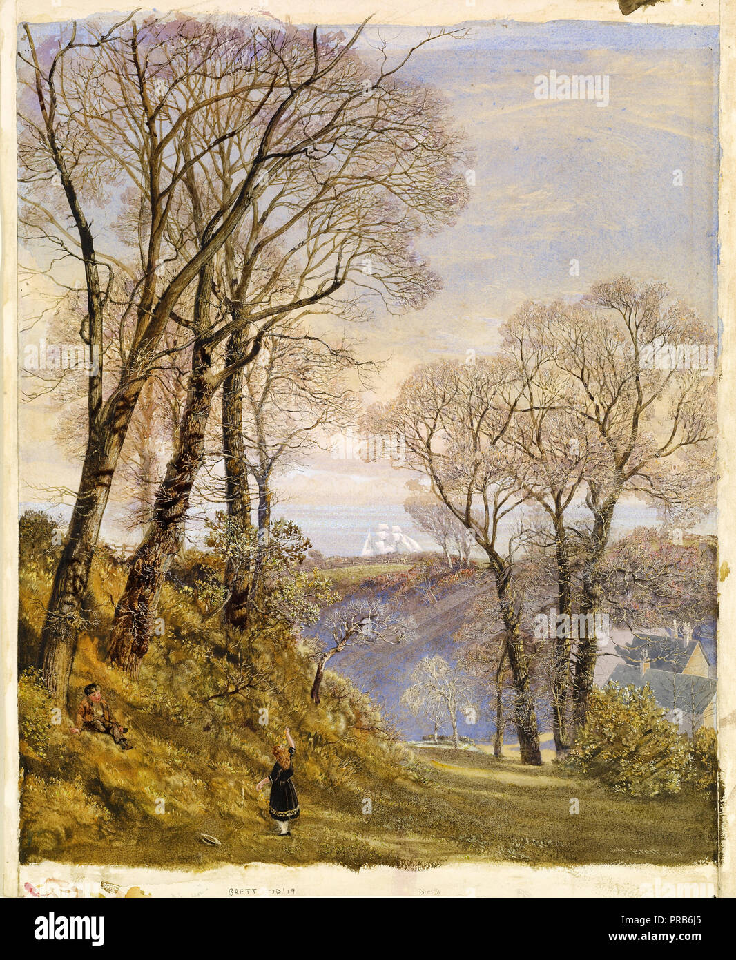 John Brett, February in the Isle of Wight 1866 Watercolor on paper, Birmingham Museum and Art Gallery, England. - Stock Image