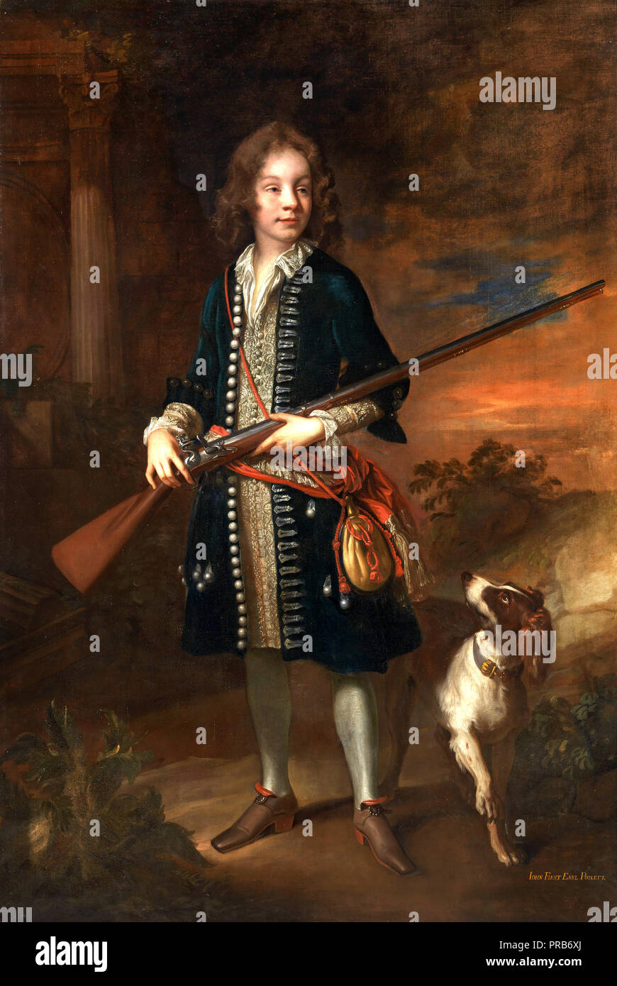 John Closterman, John Poulett, 1st Earl Poulett, Circa 1680, Oil on canvas, Yale Center for British Art, New Haven, USA. - Stock Image